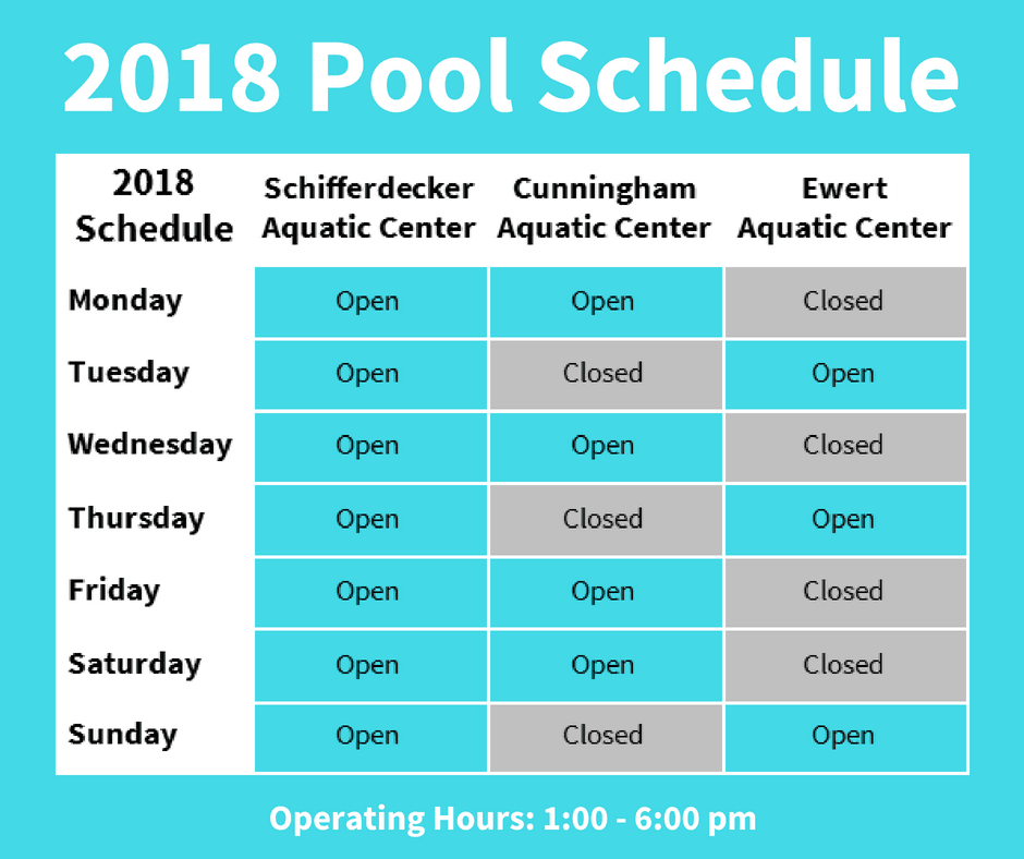 2018 Pool Schedule