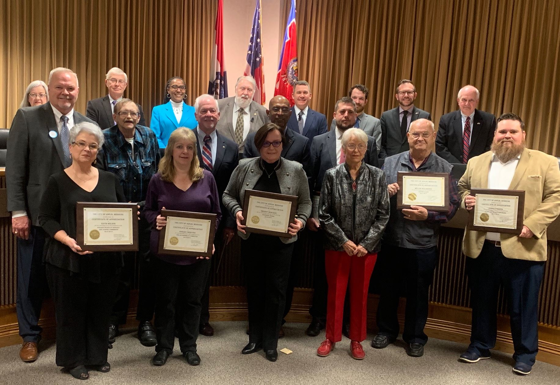 Members of Boards and Commissions who were recognized during Dec. 2, 2019 Council meeting. All have