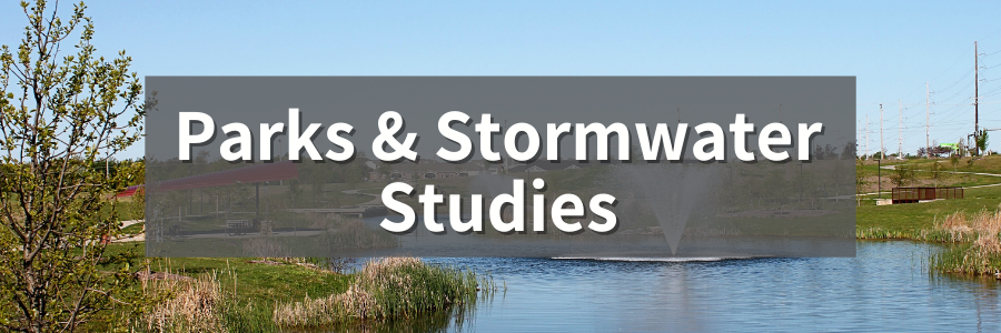 Webpage header that says Parks and Stormwater Studies